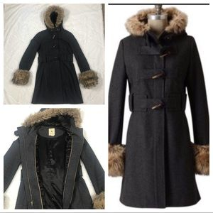 Anthro Elevenses Fur Trim Wool Coat